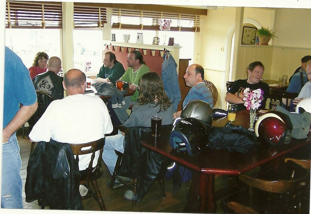 Robin Hood, pictured in the green shirt centre, on his last visit to Beesands
