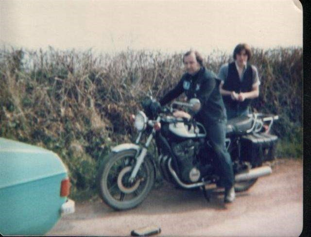 Jonathan and Geoff on Pete's Yam 750 Easter 79 Devon